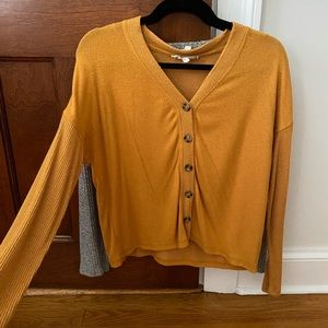 Burnt yellow Button down sweater